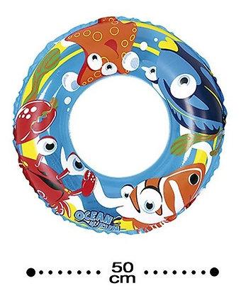 Boia Circular De Cintura Inflável Infantil Oceano Fun 50cm