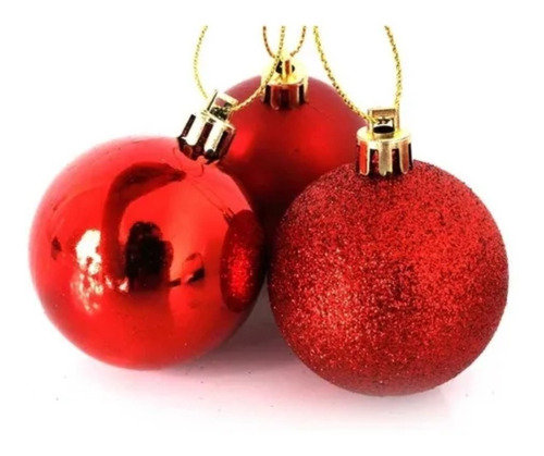 Kit 18 Bolas De Natal Vermelhas Mistas Grandes 8cm + Brinde