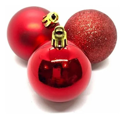 Kit 21 Bolinhas Bolas De Natal Mistas Douradas / Vermelhas