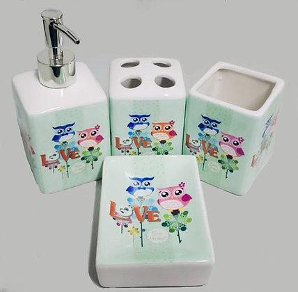 Kit P/ Banheiro Em Cerâmica 4 Pçs