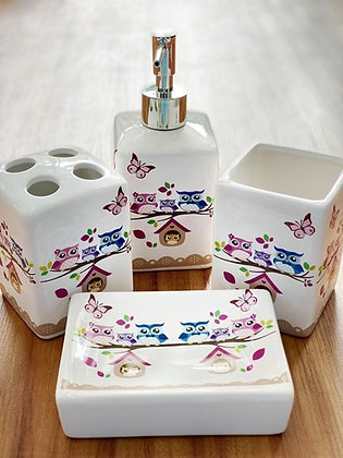 Kit P/ Banheiro Em Cerâmica 4 Pçs - Coruja