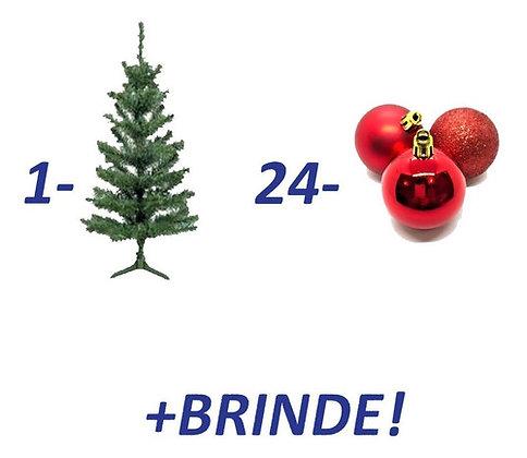 Kit Árvore De Natal 90cm Bolas Vermelhas / Douradas + Brinde