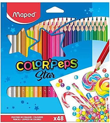 Caixa De Lápis De Cor Com 48 Cores Color'peps Maped + Brinde