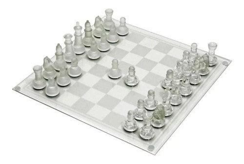 Jogo de Xadrez de Vidro Tabuleiro 20x20 cm