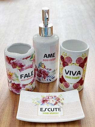 Kit Para Banheiro Cerâmica 4 Peças