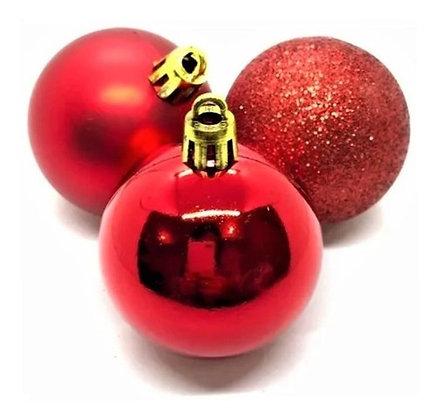 Kit 48 Bolinhas Bolas De Natal Mistas Vermelhas + Brinde
