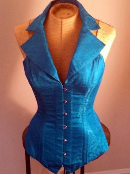 Turquoise Silk Corsevest