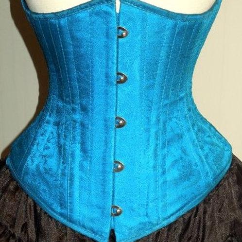 Turquoise Silk Underbust Corset