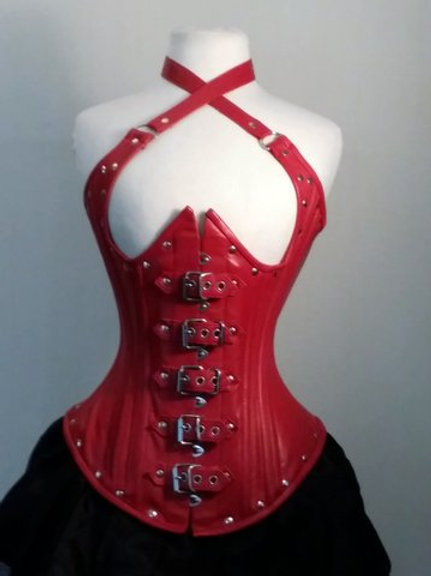 Red Leather Buckle Halter
