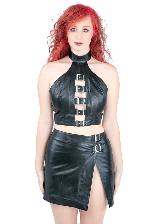 Buckle Halter Top Skirt Set