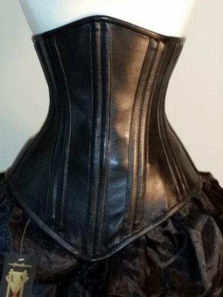 Black No Busk Leather Underbust Corset