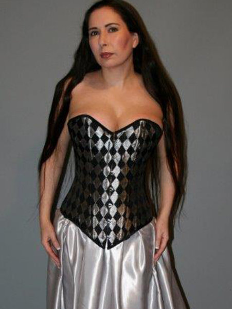 Black and Silver Harlequin Silk Overbust