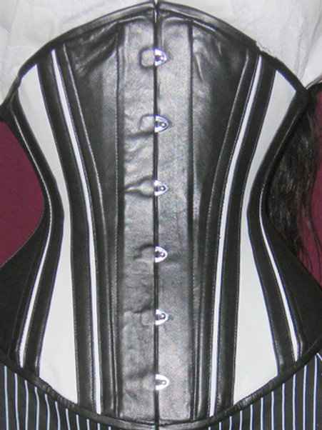 Slim Stripes Leather Black and White Underbust Corset