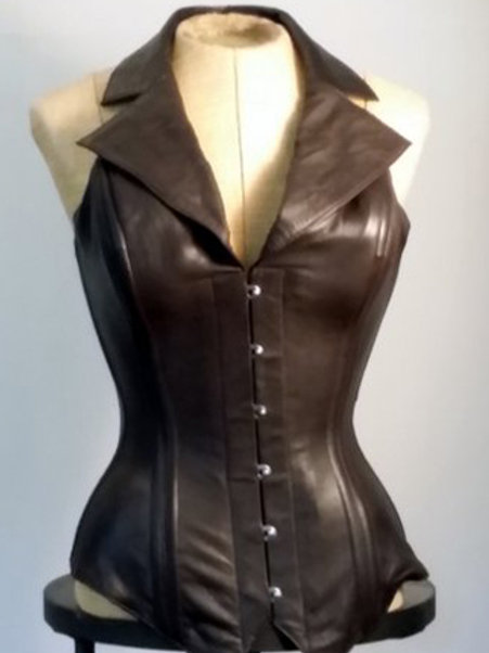 Brown Leather Corsevest