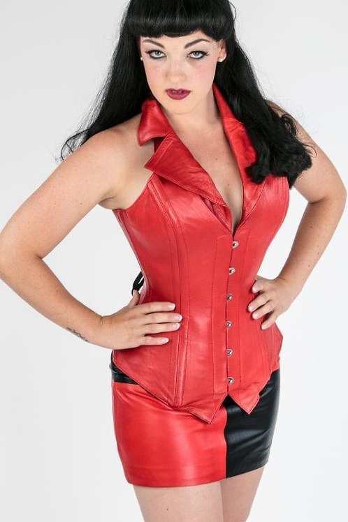 Red Leather Corsevest