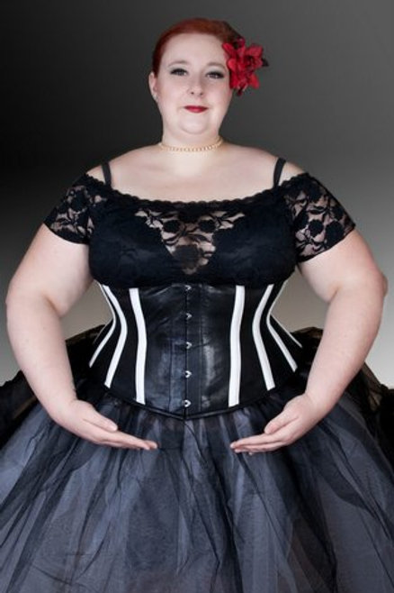 Black and White Striped Leather Underbust Corset