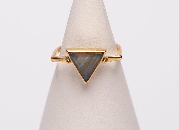 Ring Labradorit Dreieck Messing
