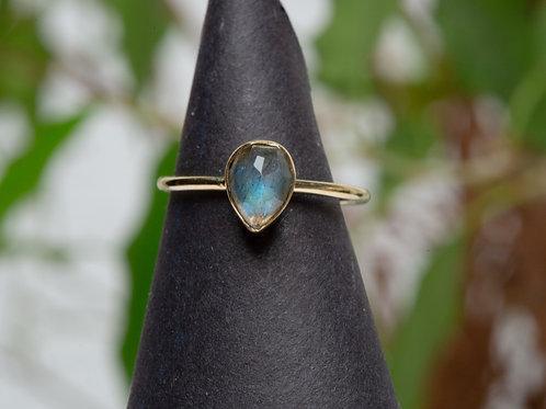 Ring labradorite drop brass