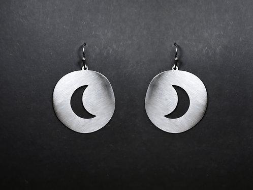 Drop earrings cut out moon