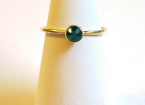 Ring grüner Onyx Messing