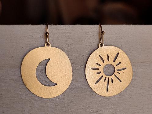 Drop earrings sun and moon
