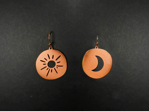 Drop earrings cut out sun and moon