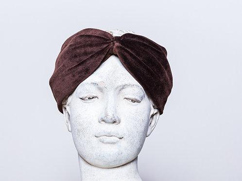 Velvet headband, dark brown