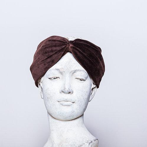 Haarband Samt, Dunkelbraun