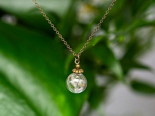 """Halskette """"Pusteblume"""" kleine Kugel, bronze"""
