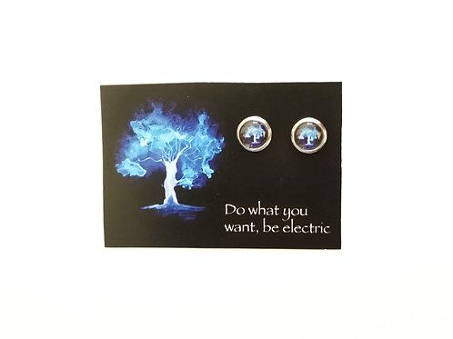 Tree stud earrings, blue