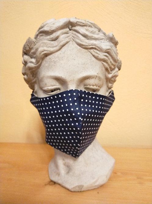 Maske Dunkelblau Punkte, größenverstellbar