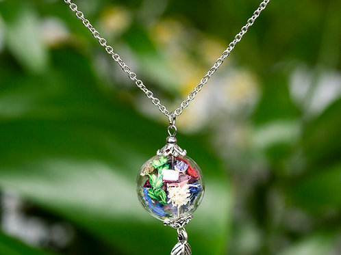 """""""Colorful flower mix"""" with feather, silver, large ball"""