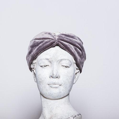 Haarband Samt, Grau