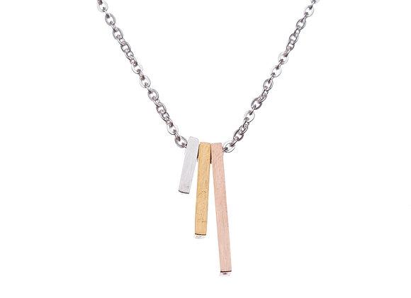 Halskette mit dreifarbigen Stäben