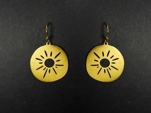 Drop earrings cut out sun
