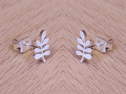 Medium olive leaf stud earrings
