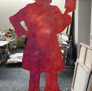 Frauenfigur rote Seite