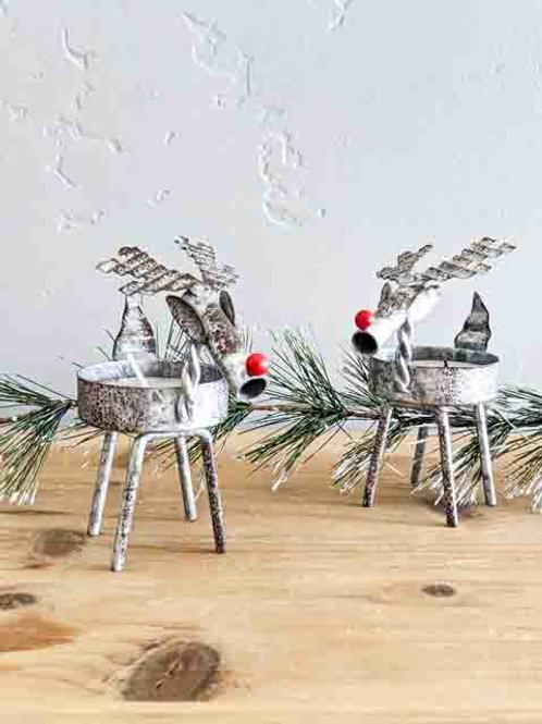 Mini Reindeer Tealight Candle Holder Set