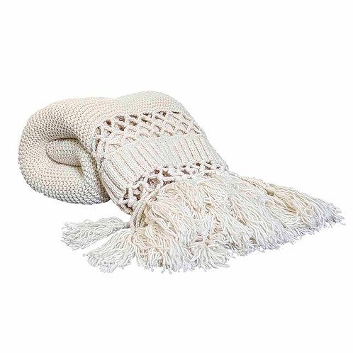 Knit Cream Throw Blanket