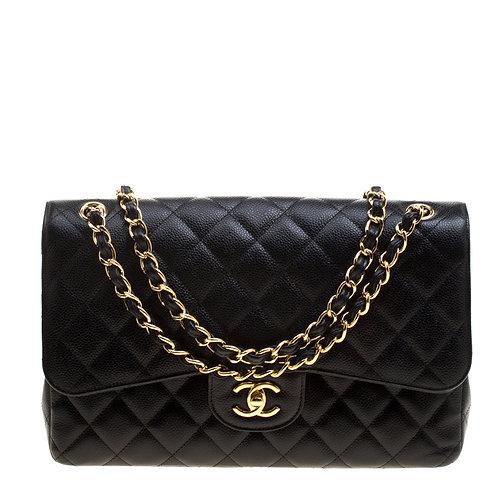 Authentic Chanel Black Caviar Jumbo Bag