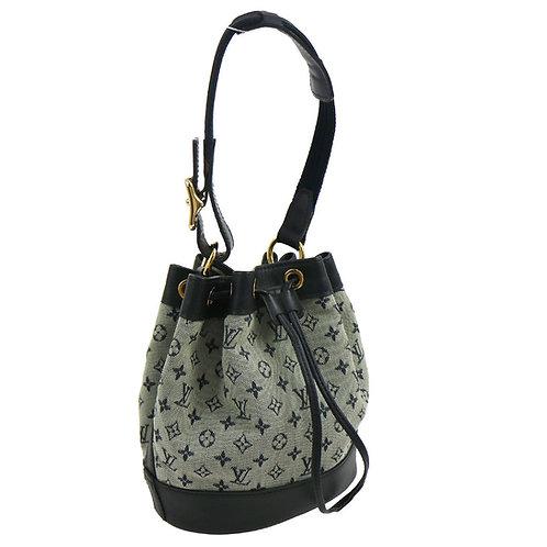 Authentic Louis Vuitton Noelie Blue Mini Monogram Canvas Hand Bag