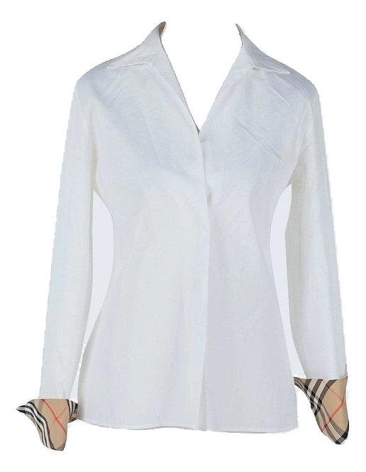 Authentic burberry london women white nova check shirt size M