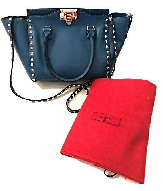 Authentic Valentino Blue Leather Medium Rockstud bag