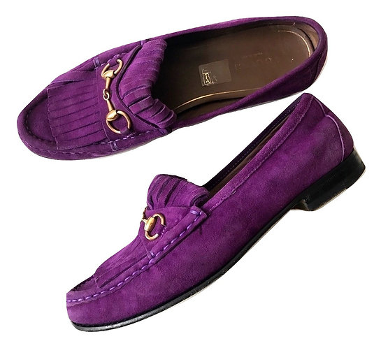 Authentic Gucci women's horse bit fringe purple loafers