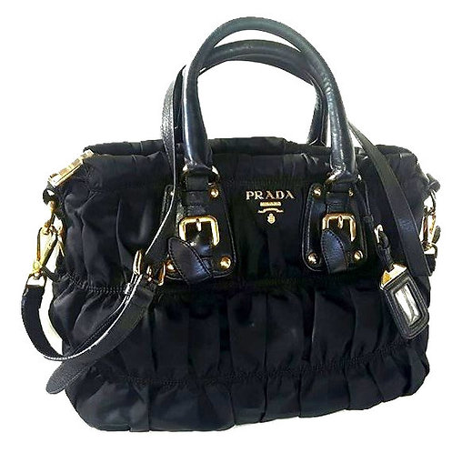 Authentic Prada Black Nylon Gaufre Ruched Medium Bag