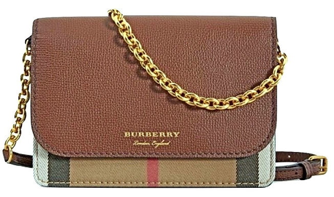 Authentic burberry Wallet on Chain Derby Hampshire Check  Cross Body Bag