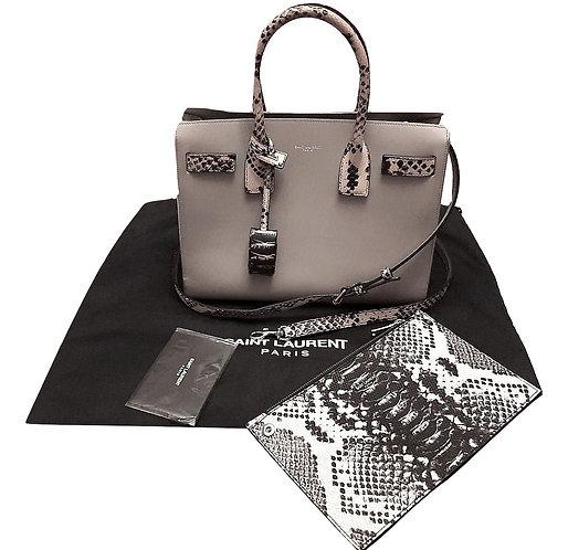 Authentic Yves Saint Laurent Grey Sac De Jour bag