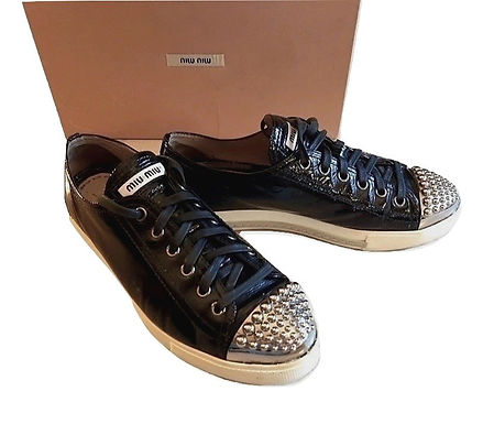 Authentic Black Patent Leather Studded Cap Sneakers SZ37