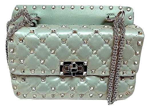 Authentic Valentino Moncler Quilted Rockstud Spike Chain Shoulder Bag