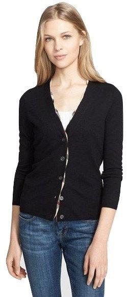 AuthenticBurberry Brit  Black Wool Cardigan Size L